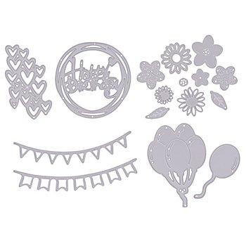 Stanzschablonen-Set 'Geburtstag', 0,8–11 cm, 16-teilig