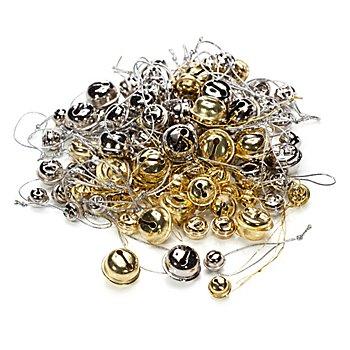 Schellen, gold und silber, in verschiedenen Größen, 100 Stück