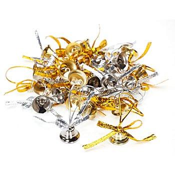 Metall-Glöckchen, gold und silber, 1,5 cm und 2 cm, 24 Stück