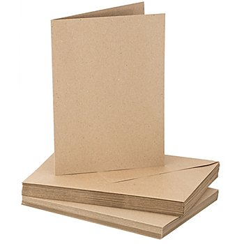 Recycling-Doppelkartenset, A5 / C5, braun, je 20 Stück