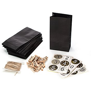 Adventskalendertüten-Set, schwarz-gold, 24 Stück