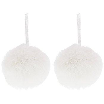 Pompon, weiss, 7 cm Ø, 2 Stück