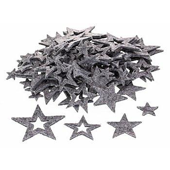Filz-Sterne, grau, 2–7 cm, 100 Stück