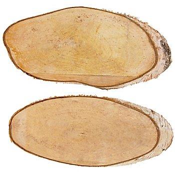 Birkenscheiben oval, 32 x 15 cm, 2 Stück