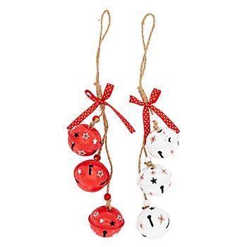 Grelots, rouge et blanc, 5 cm Ø, 6 pièces