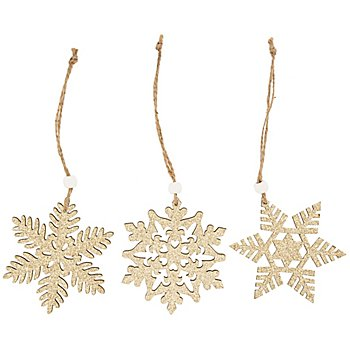 Hänger 'Schneeflocke' aus Holz, gold, 9 cm, 6 Stück