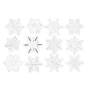 Motifs adhésifs 'flocon de neige' pour fenêtre, argent/transparent, 12 pièces