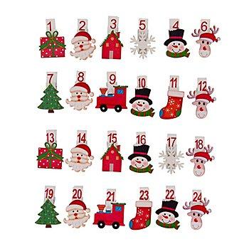 Adventskalender-Zahlen 'Kindliche Weihnachten' aus Holz, mit Klammer, 4,5 cm