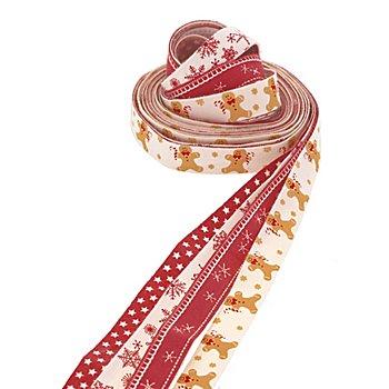 Bänderpaket 'Lebkuchen', rot-natur, 15 mm, 4x 2,5 m