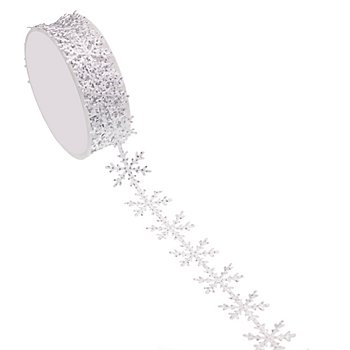 Ruban satin 'flocon de neige scintillant', blanc, 25 mm, 5 m