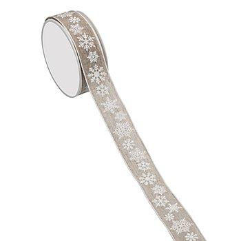 Leinenband 'Schneeflocke', taupe-weiß, 25 mm, 5 m