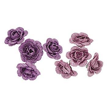 Têtes de roses, violet/rose, 5 cm Ø, 8 pièces