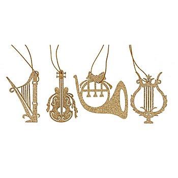 Suspensions en bois 'instruments de musique', doré, 16 pièces