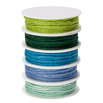 Jutekordelpaket, blau-grün, 2 mm, 5x 4 m