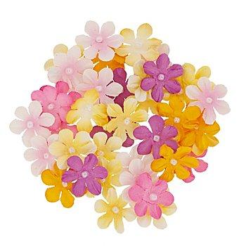 Florella Set de boutons de fleurs en papier, jaune et rose, 2 cm Ø, 40 pièces