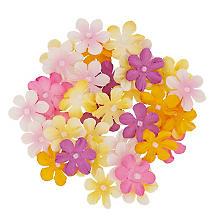 Florella Papierblüten, gelb + rosa, 40 Stück, 2 cm Ø