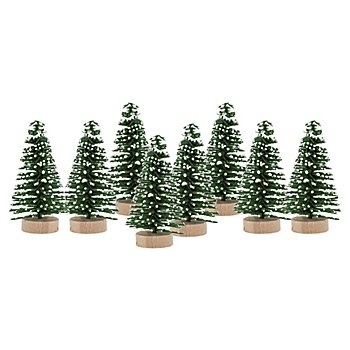 Deko-Tannenbäume, beschneit, 4,5 cm, 8 Stück