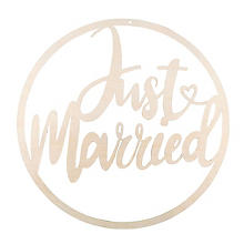 Cercle déco en bois 'just married', 30 cm Ø