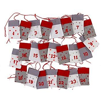 Adventskalendergirlande aus Filz, 24 Säckchen