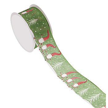 Stoffband 'Wichtel', grün-weiß-rot, 40 mm, 5 m