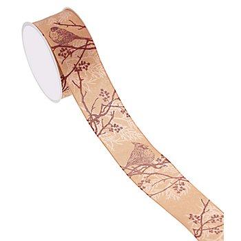 Ruban 'oiseau', abricot, 40 mm, 5 m