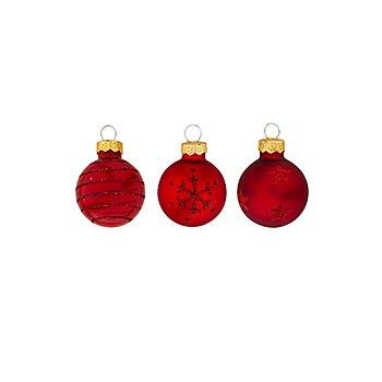 Weihnachtskugeln aus Glas, marsala, 3 cm Ø, 9 Stück
