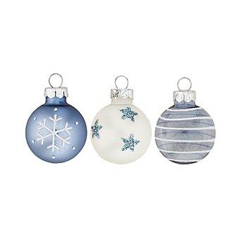 Weihnachtskugeln aus Glas, blau-weiß, 3 cm Ø, 9 Stück