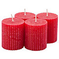 Bougies rustiques striées, rouge, 4 pièces