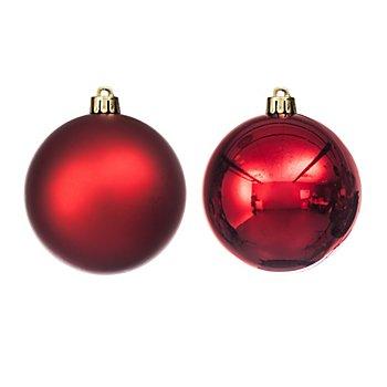 Weihnachtskugeln aus Kunststoff, marsala, 10 cm Ø, 4 Stück