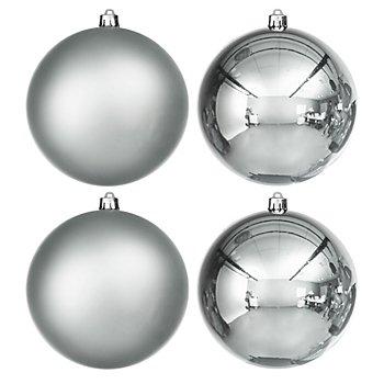 Weihnachtskugeln aus Kunststoff, silber, 10 cm Ø, 4 Stück
