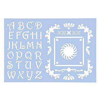 buttinette Pochoir 'alphabet et éléments décoratifs'