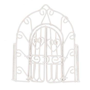 Arc de portail avec portes en métal, 8 x 1,5 x 10 cm