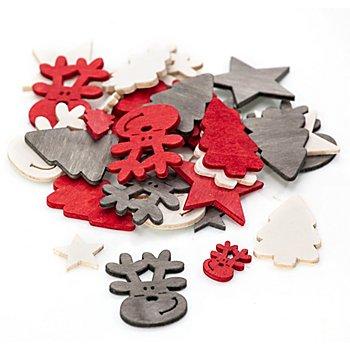 Streuteile 'Weihnachten', rot-weiss-grau, 2 und 4 cm, 36 Stück