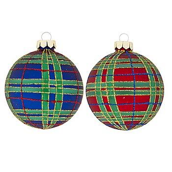 Weihnachtskugeln 'Karo' aus Glas, 8 cm Ø, 2 Stück