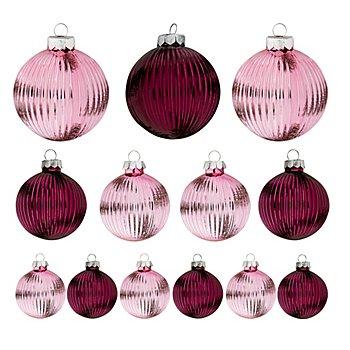 Boules de Noël en verre, 4 cm, 6 cm, 8 cm Ø, 13 pièces