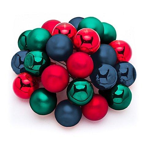 Image of Weihnachtskugeln am Draht, rot, blau, grün, 2 cm Ø, 24 Stück