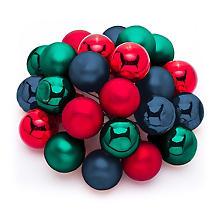 Boules de Noël avec fil métallique, rouge/bleu/vert, 2 cm Ø, 24 pièces