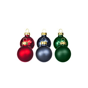 Weihnachtskugeln aus Glas, rot, blau, grün, 3 cm Ø, 12 Stück