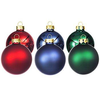 Weihnachtskugeln aus Glas, rot, blau, grün, 6 cm Ø