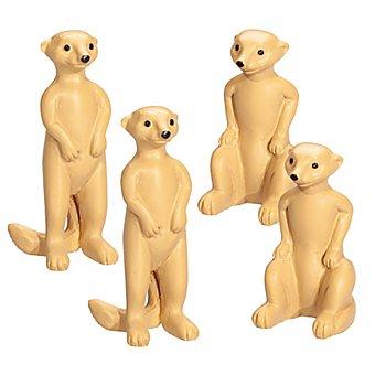 Erdmännchen aus Kunststoff, 4 Stück, 3 x 1 cm