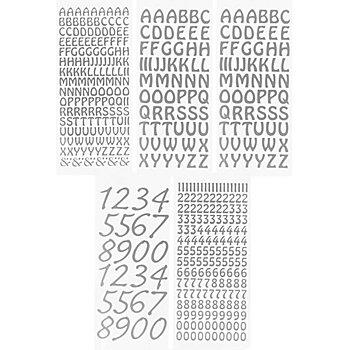 Klebesticker 'Buchstaben & Zahlen', silber, 23 x 10 cm, 5 Bogen