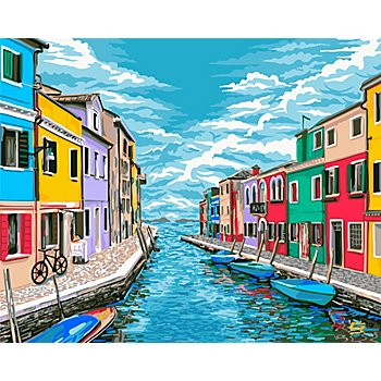 Kit peinture aux numéros 'maisons colorées', 50 x 40 cm