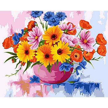 Malen nach Zahlen auf Leinwand 'Blumenstrauss, 50 x 40 cm