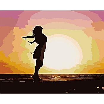 Malen nach Zahlen auf Leinwand 'Frau am Strand', 50 x 40 cm