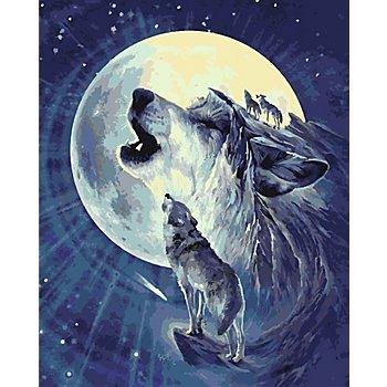 Kit peinture aux numéros 'loups', 40 x 50 cm