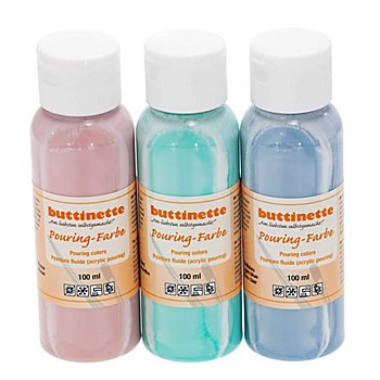 buttinette Pouring-Farben Set 'Pastell', 3x 100 ml