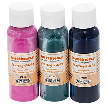 buttinette Pouring-Farben Set 'Trend', 3x 100 ml