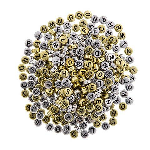 Image of Buchstabenperlen, gold und silber, 7 mm Ø, 50 g