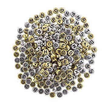 Buchstabenperlen, gold und silber, 7 mm Ø, 50 g