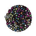 Perles cubes avec lettres, noir/néon, 200 pièces